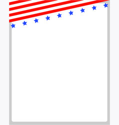 background frame with usa flag on top vector image vector image
