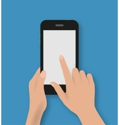 Hand touching screen of black phone vector image