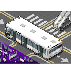 Isometric Airport Bus with Open Doors in Rear View vector image vector image