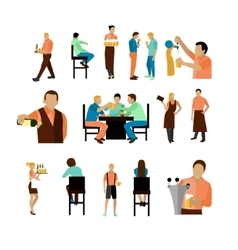 set of beer bar workers and visitor vector image