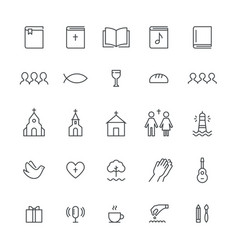 church and christian community flat outline icons vector image vector image