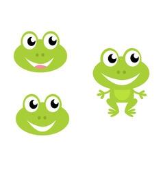 cute green cartoon frog icons vector image