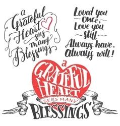 Grateful heart hand lettering set vector image vector image