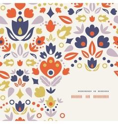 Ornamental folk tulips corner frame pattern vector image