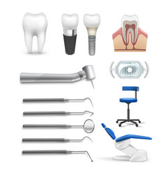 Set of dental objects vector