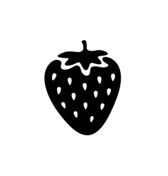 Strawberry simple black icon One color simple vector image