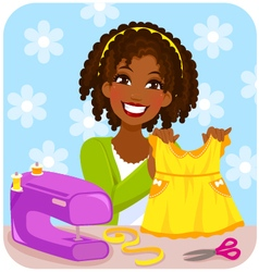woman sewing a dress vector image