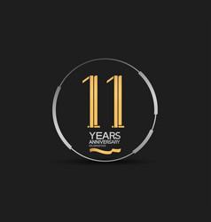 11 years golden anniversary logotype golden vector