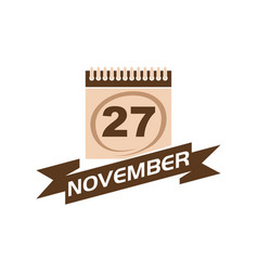 27 november calendar with ribbon vector