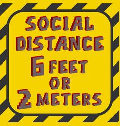 6 feet or 2 meters social distance mark vector