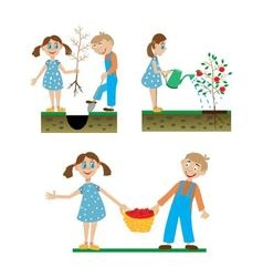 A set of drawings of children working in the vector