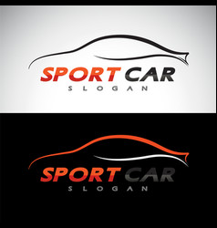 Abstract car sport racing logo template vector