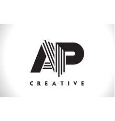 Ap logo letter with black lines design line letter vector