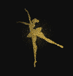 ballet dancer girl gold glitter splash background vector image