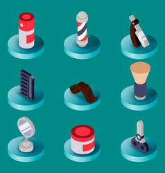 Barber shop flat isometric set vector