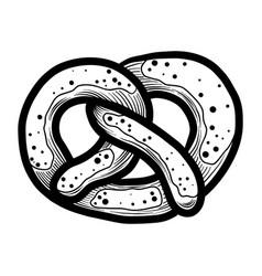Bavarian pretzel icon hand drawn style vector