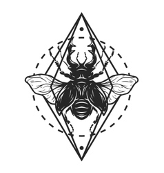Beetle deer and geometric elements vector