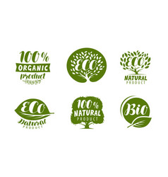 bio eco logo or label natural organic product vector image