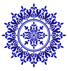blue and white floral decorative vector image