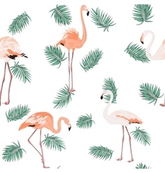 Blue green exotic tropical leaves pink flamingos vector