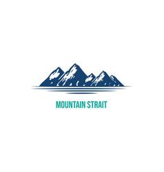 blue mountain and lake or river logo design vect vector image