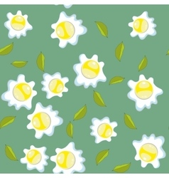 Broken eggs seamless pattern Scrambled eggs vector