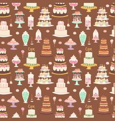 Cake pie tart happy birthday cartoon seamless vector