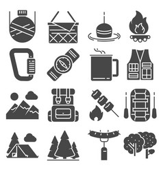 camping and outdoor recreation icons set vector image