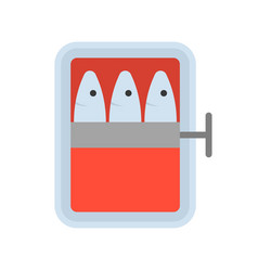 Canned fish food and gastronomy set flat icon vector