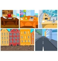 Cartoon set of city office backgrounds vector