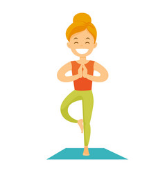 Caucasian white woman practicing yoga tree pose vector