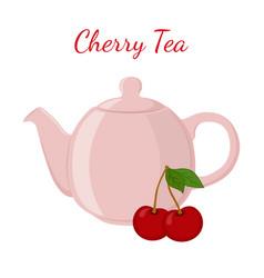 cherry tea in teapot with berries healthy fruit vector image