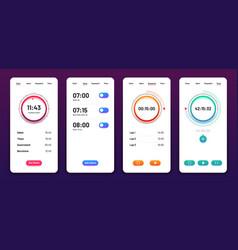 Clock user interface alarm stopwatch timer ui vector