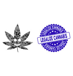 Collage happy cannabis icon with textured legalize vector