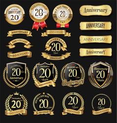 Collection anniversary golden logotype vector