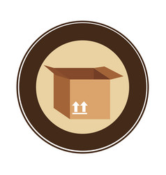 Color circular emblem with open packing box vector