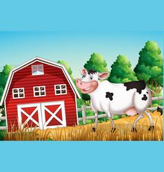 cow at farmland vector image