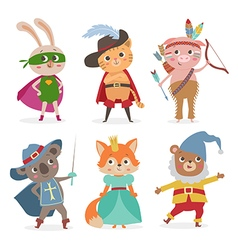 Cute animal kids in different costume Cartoon vector