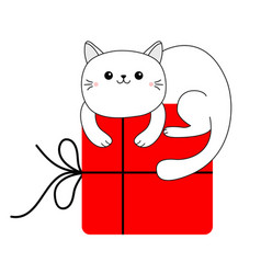 Cute cat holding big red merry christmas gift box vector