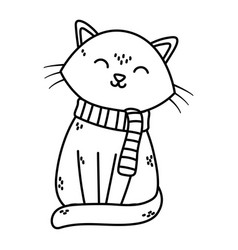 cute cat with scarf celebration merry christmas vector image