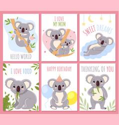 cute koalas australian nature fluffy little vector image