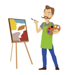 Cute male artist painting on canvas standing vector