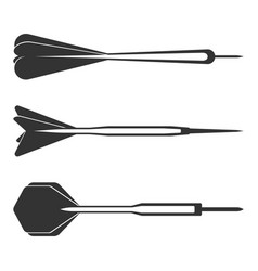 Dart arrows small missiles black silhouettes with vector