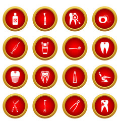 dental care icon red circle set vector image