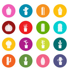 Different cactuses icons many colors set vector