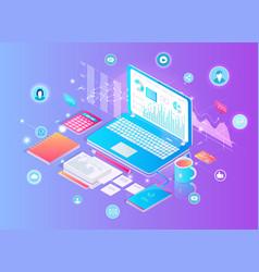 Digital finance analytics set vector