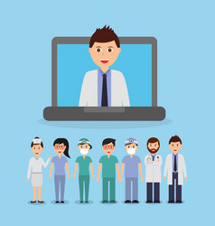 Doctor inside laptop and staff medical people team vector