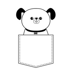 Dog happy face head icon sitting in pocket vector