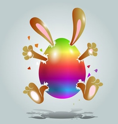 easter bunny in color egg vector image