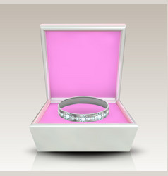 encrusted silver ring in white square box vector image